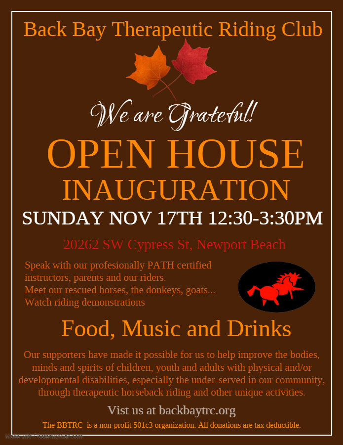 Open House November 17th, 2019 - Dear friends of BBTRC,Please come and visit for some food, music & drinks and of course experience our farm firsthand. Our riders, volunteers, instructors and rescued animals are hoping to see everyone there! We need your support!We will also celebrate the end of the remodeling we went through this year ! Come see the improvements !