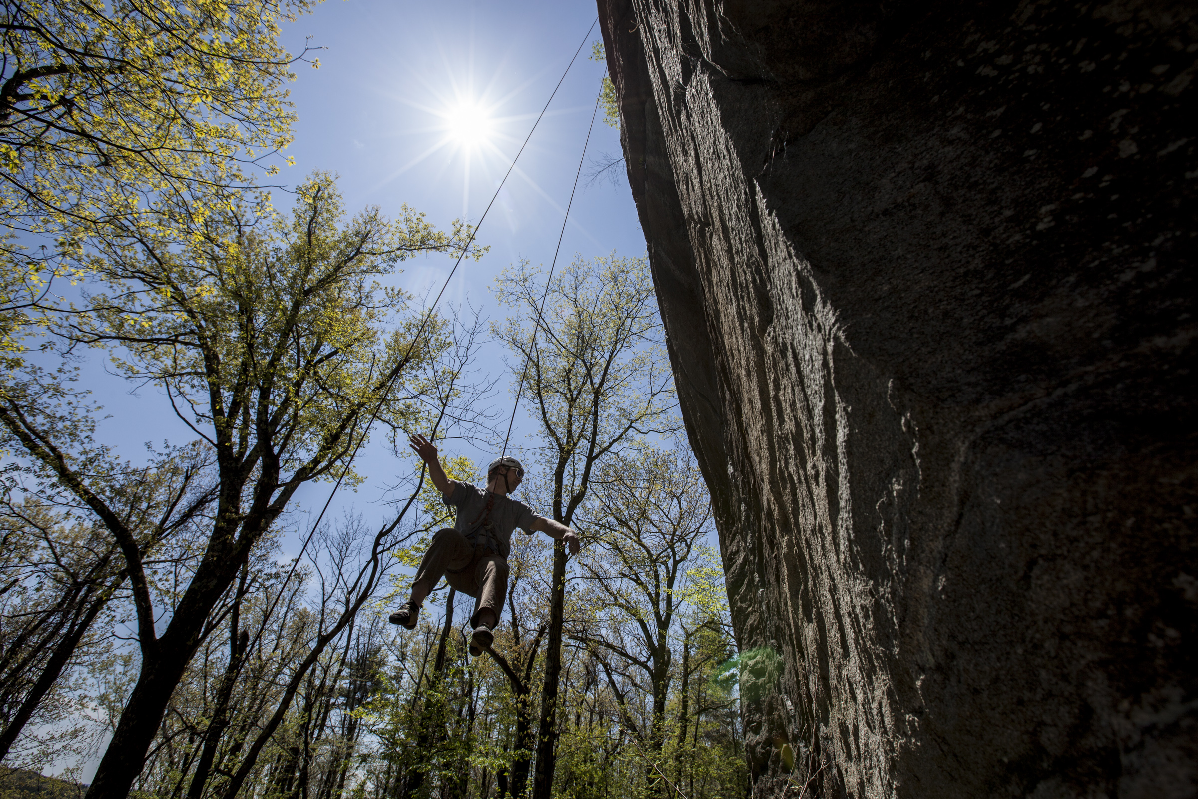 Rock Climber swinging at Crow Hill