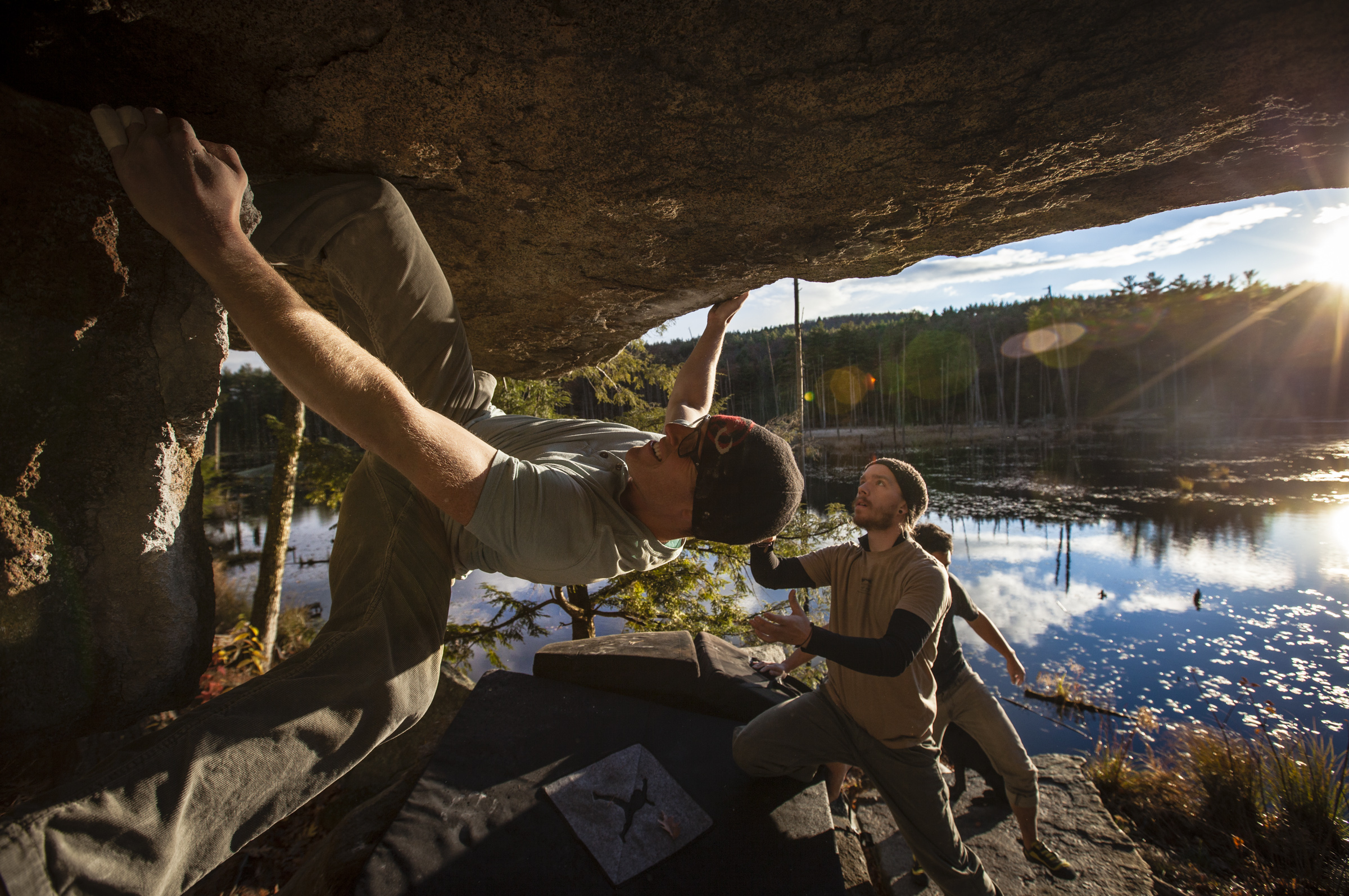 Steve Thunstrom climbing Overlooked Boulder Problem at Pawtuckaway State Park