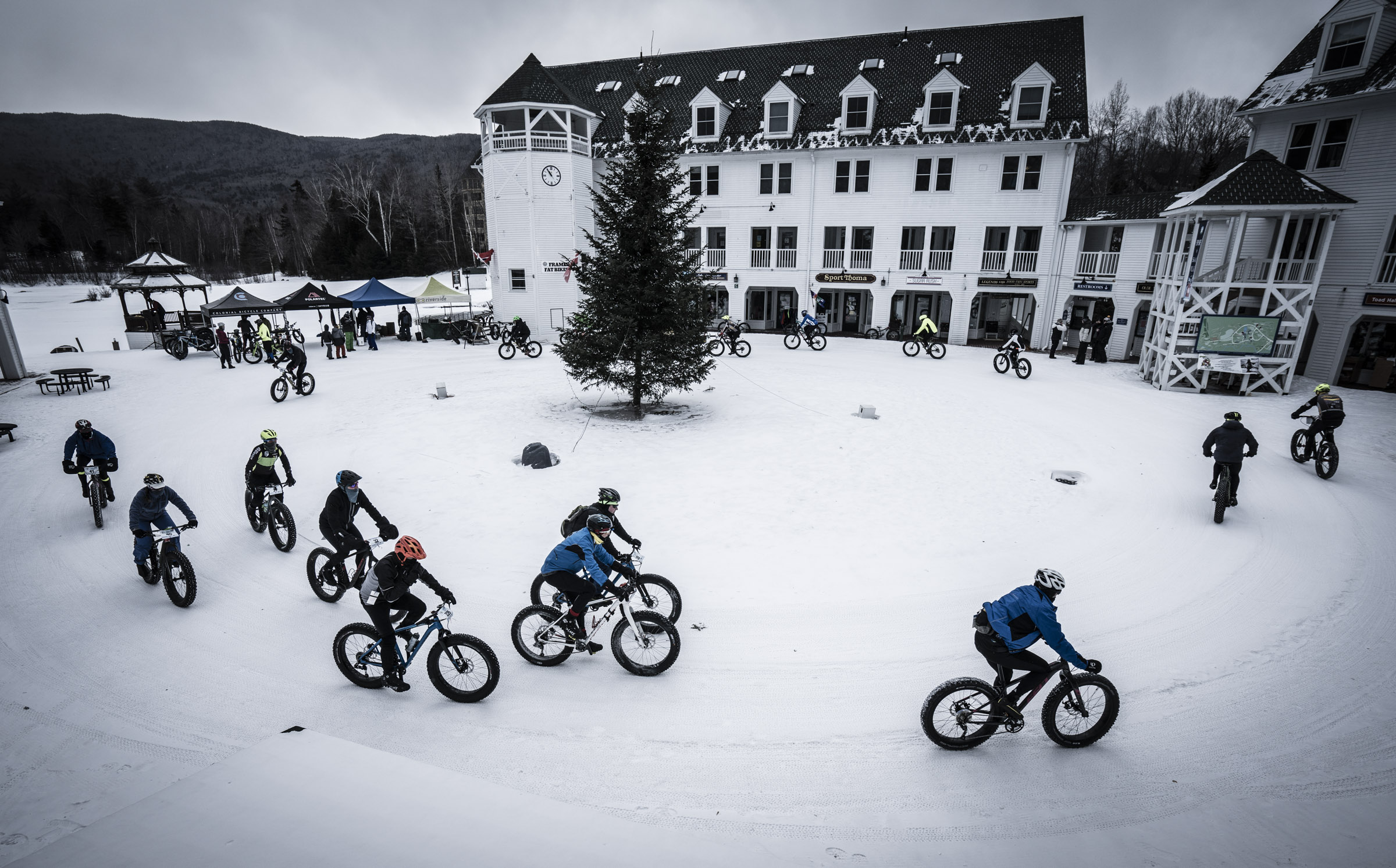 Fat Bikers warm up in Village Square at Waterville Valley