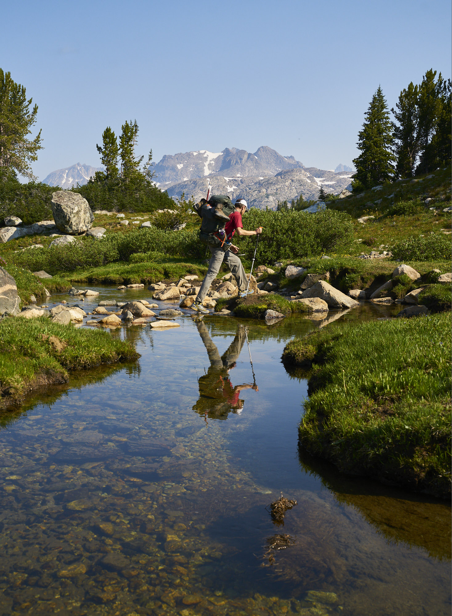 Adventure photography of a hiker in the Wind River Range of Wyoming