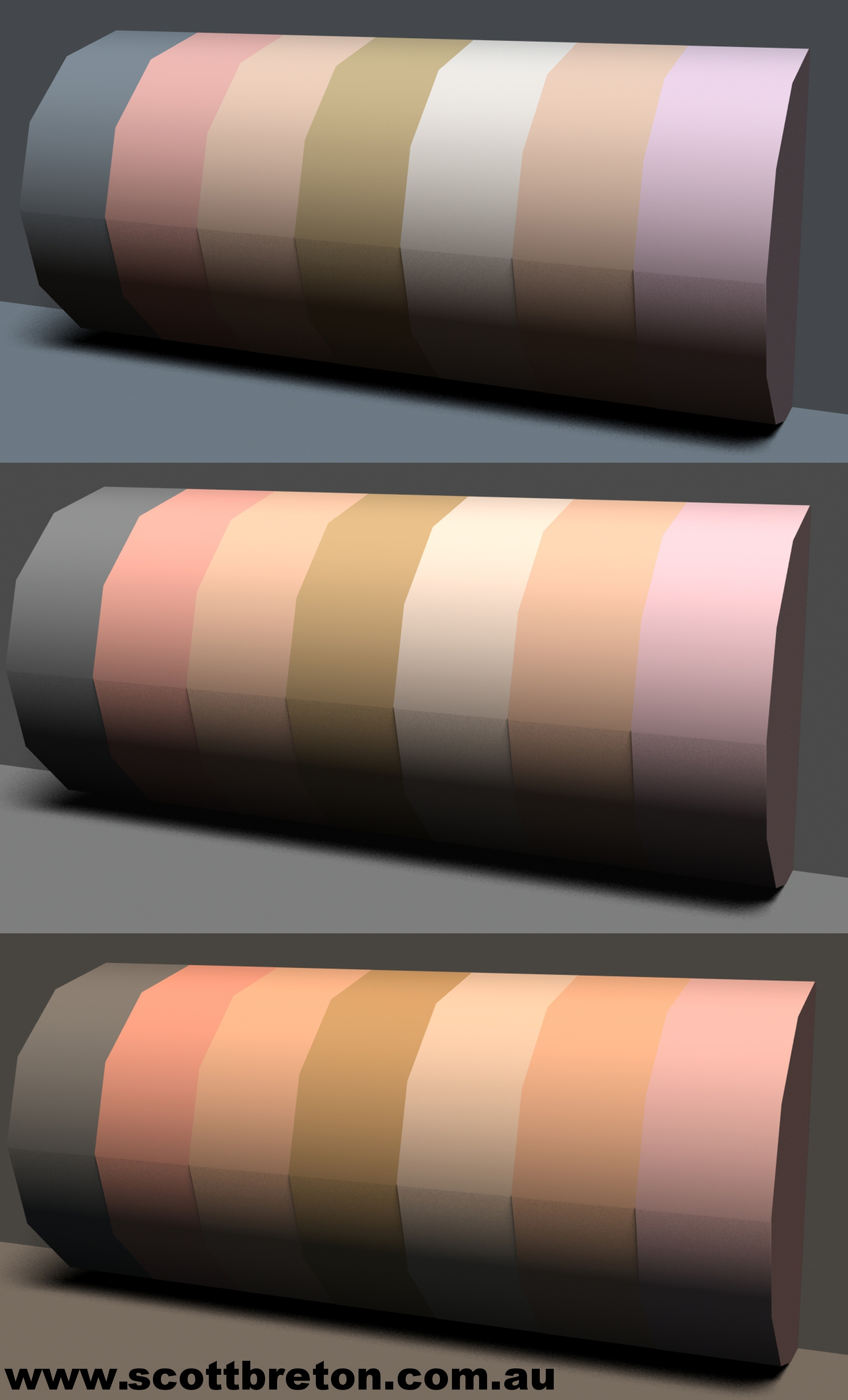 Diagram 7: same skin toned objects, lights varies