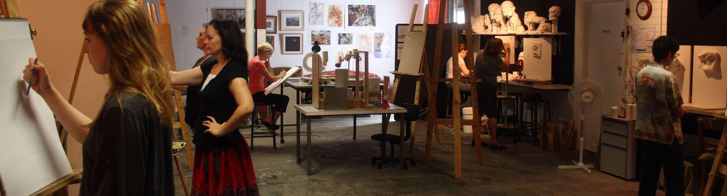 Students in Scott's class at the Atelier Art Classes studio in Salisbury, Brisbane