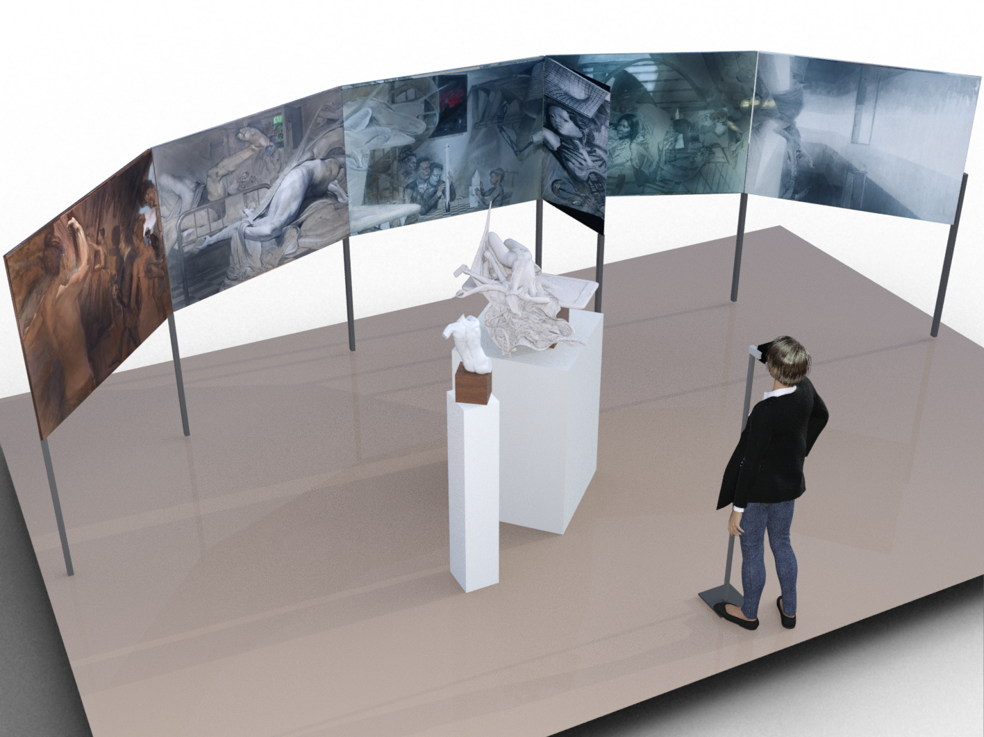 "Digital mockup of the installation. The figure in the foreground is where the viewer will stand to see from the ""station point""  through faux VR goggles.  Paintings shown are digitally coloured versions of the actual oil paintings (see below).  A third sculpture is currently being developed."