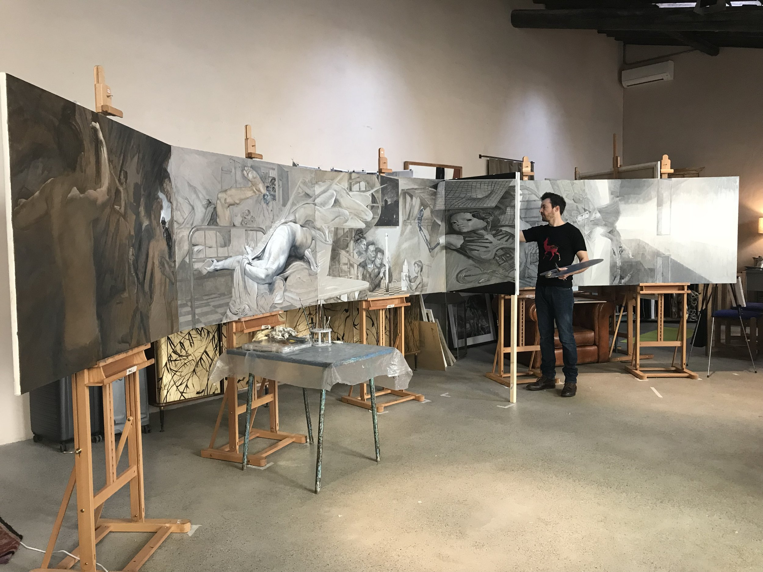 The paintings in Florence, Italy in late 2017