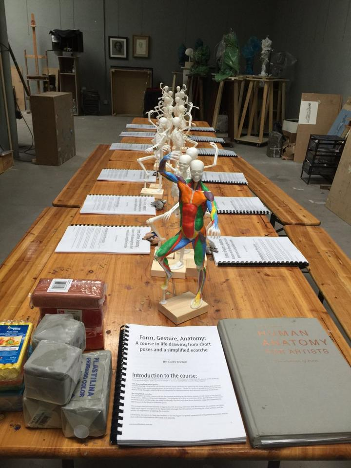 3D printed skeletons for Scott's Basic Ecorche course taught for ICACEA, Florence Italy