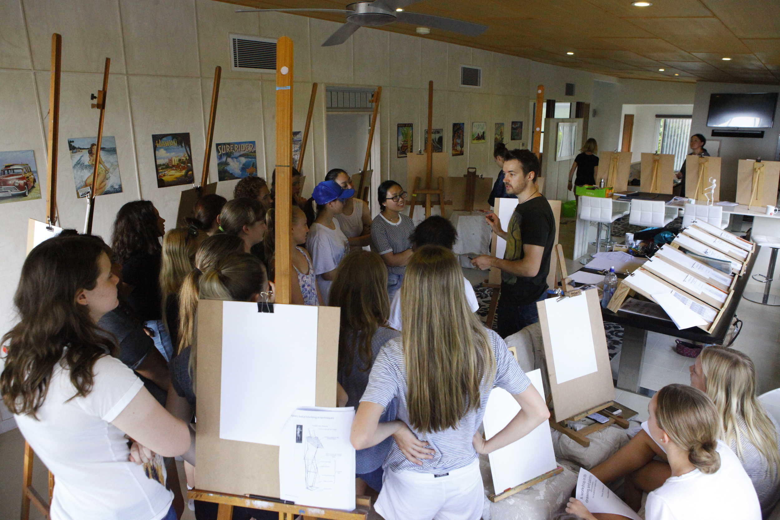 Scott teaching Life Drawing for Students of Clayfield College, Brisbane