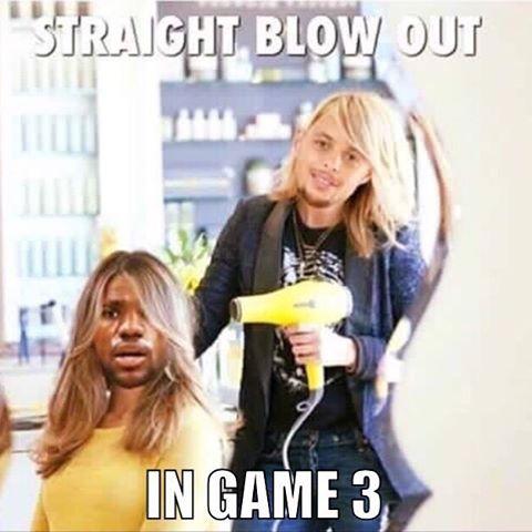 😂😂😂😂😂🏀🏀🏀🏀🏀#nbafinals #couldntresist #blowdrybar#blowoutbar#maconsalon#blowout#stephcurry#labronjames#ouch#werejusthavingfun