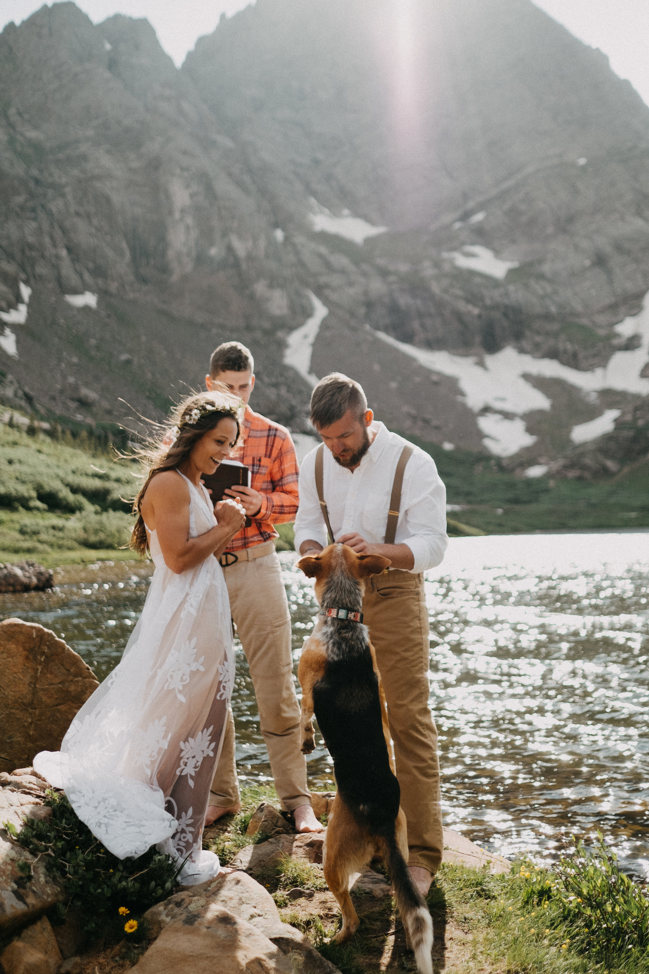 Bri + Dave alpine lake elopement in colorado - It doesn't get much better than a 9 mile hike with your friends and your puppy as the ring bearer.