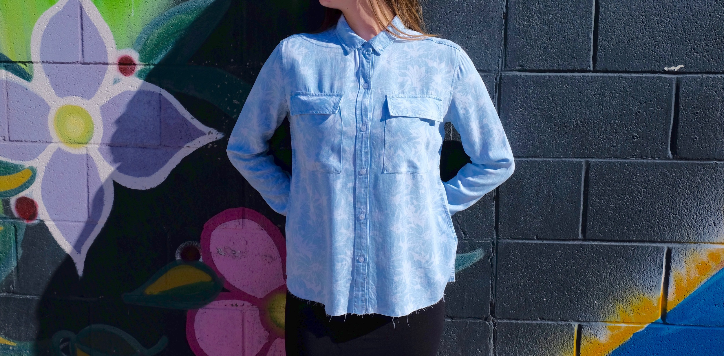 Rails Daphne Tencel Denim Floral Burnout Cropped Buttondown.