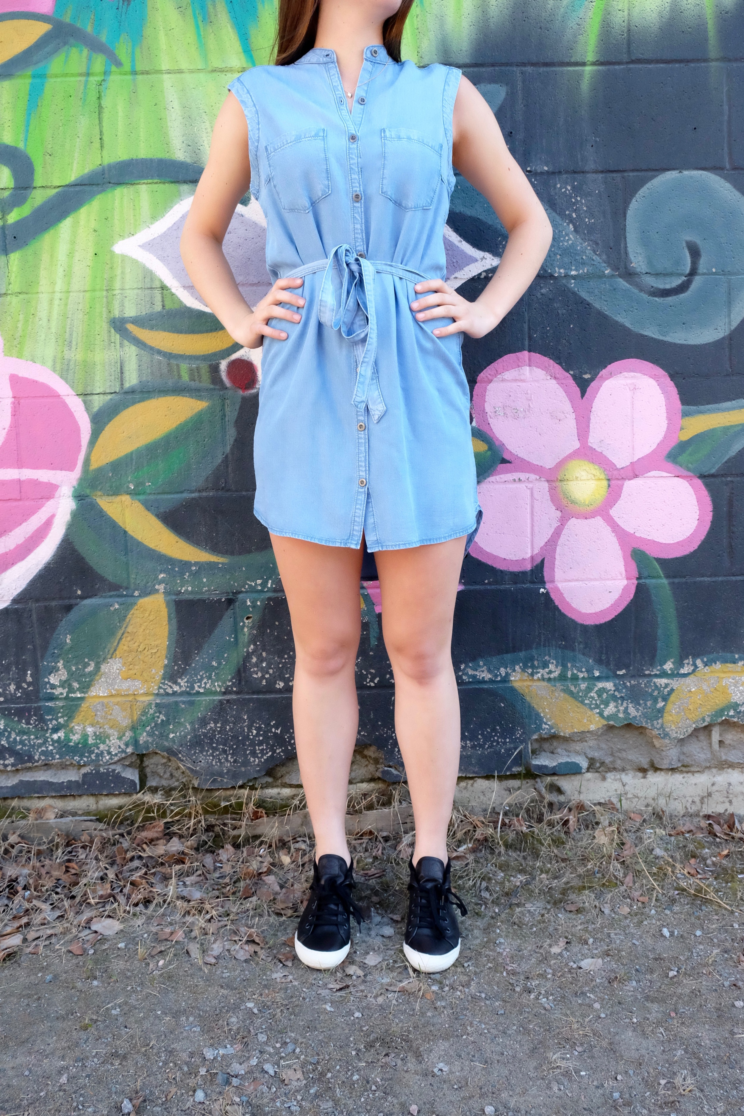 Yoga Jeans Sleeveless Tencel Denim Shirt Dress.
