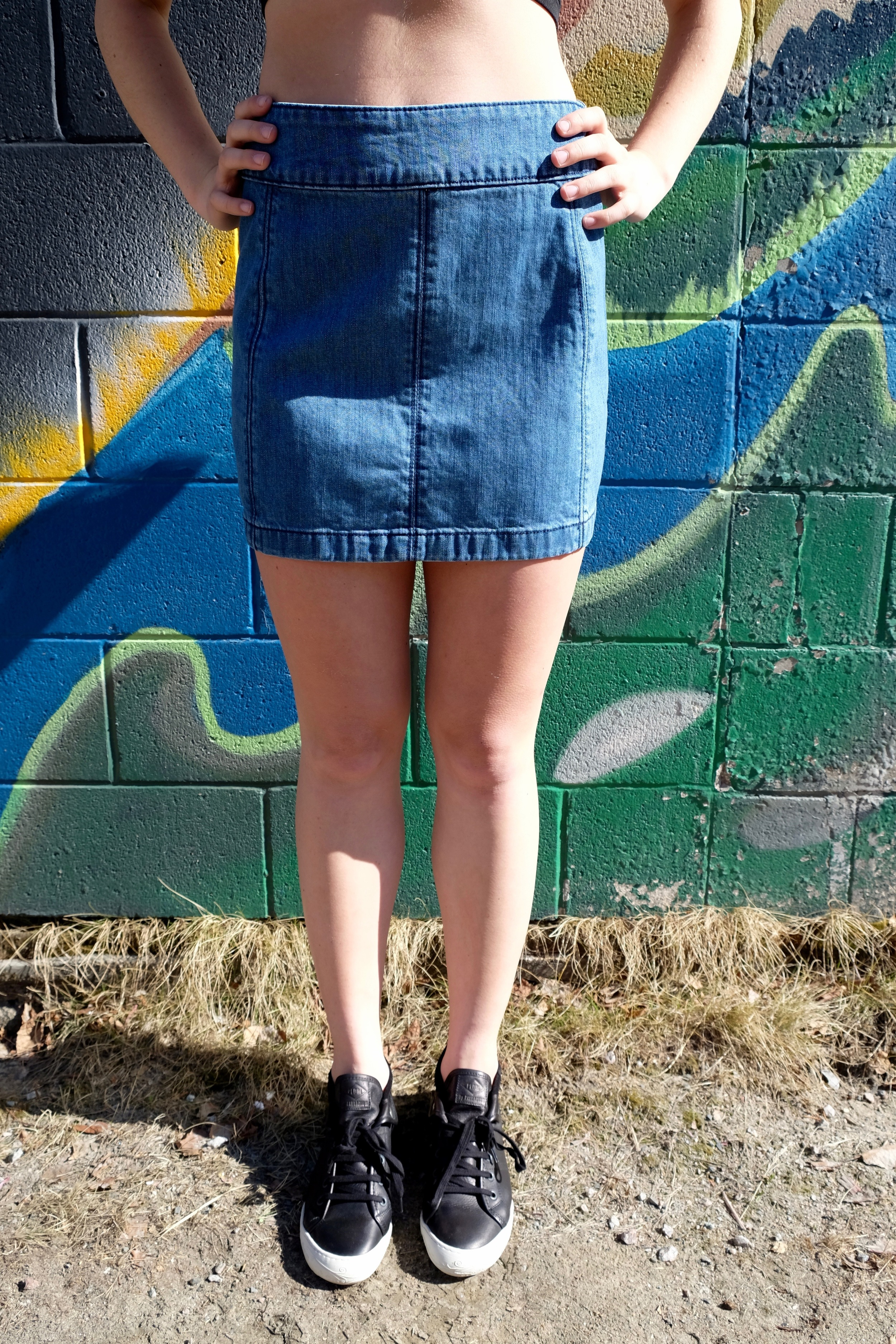 Free People Zip To It Denim Mini Skirt.