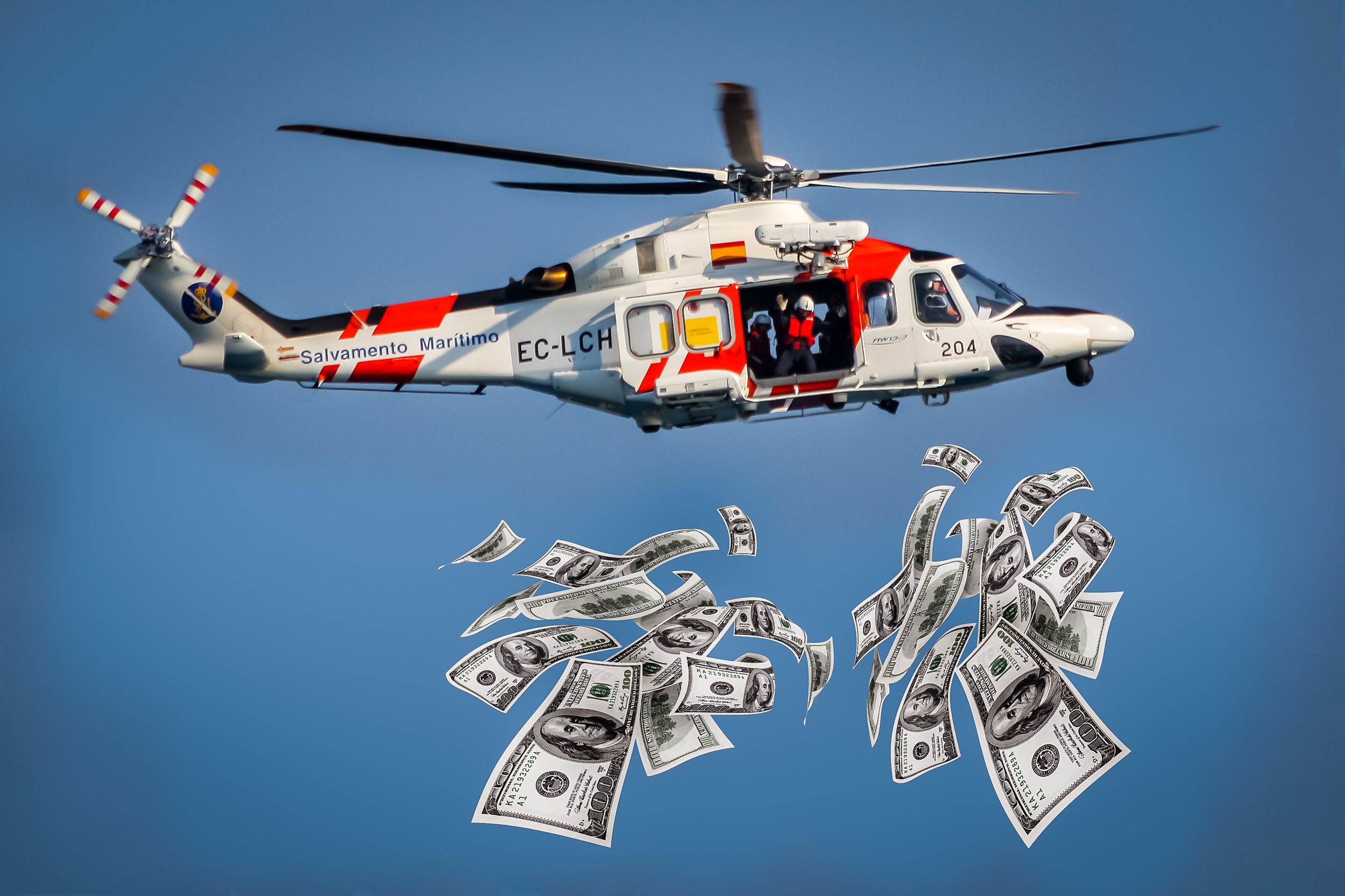 Helicopter Money. Image composed from photos by  Jordi Payà  and  401(K) 2012 . Licensed under CC BY-SA 2.0.