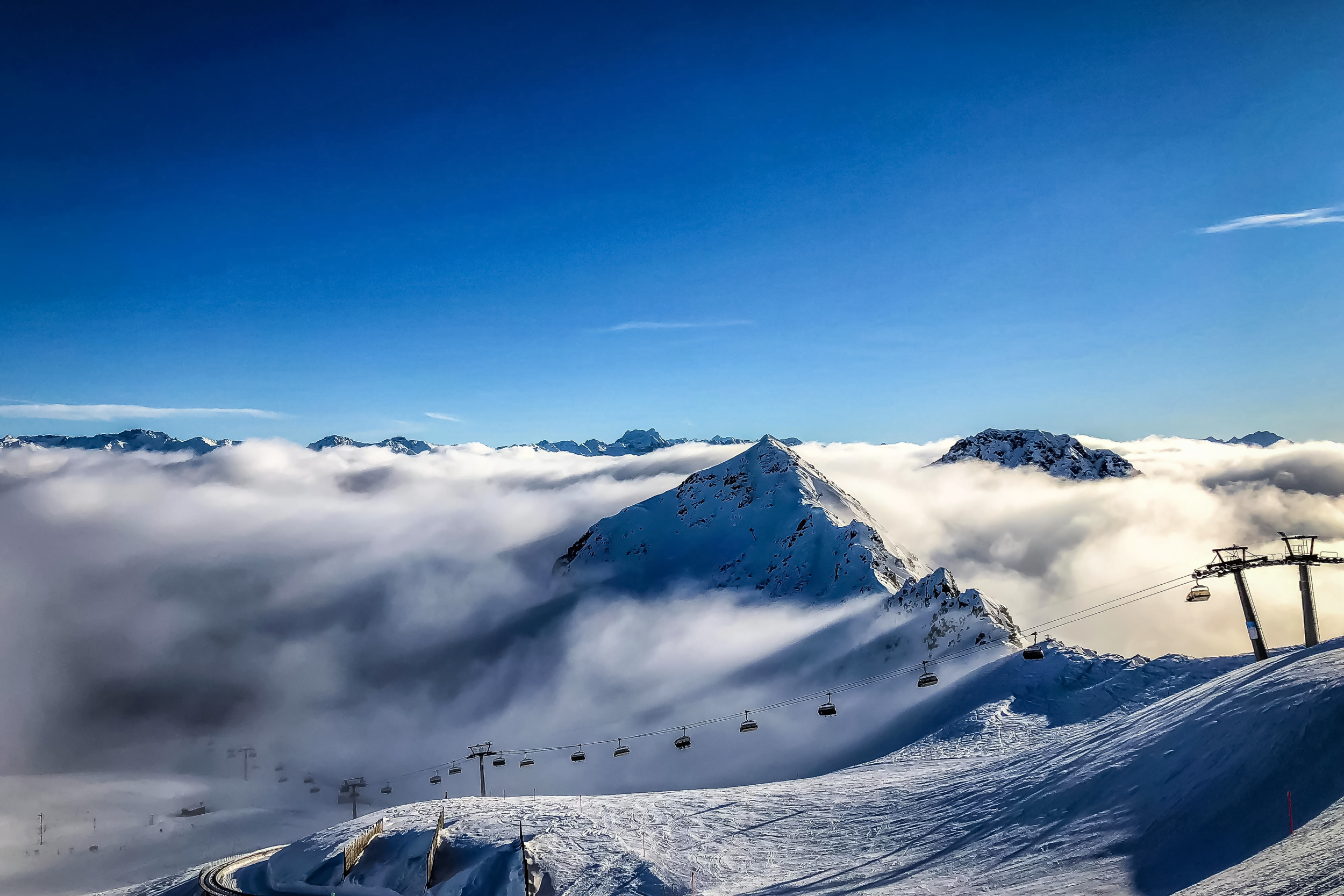 High above the clouds at Weissfluhjoch station. Davos, Switzerland, January 2018.