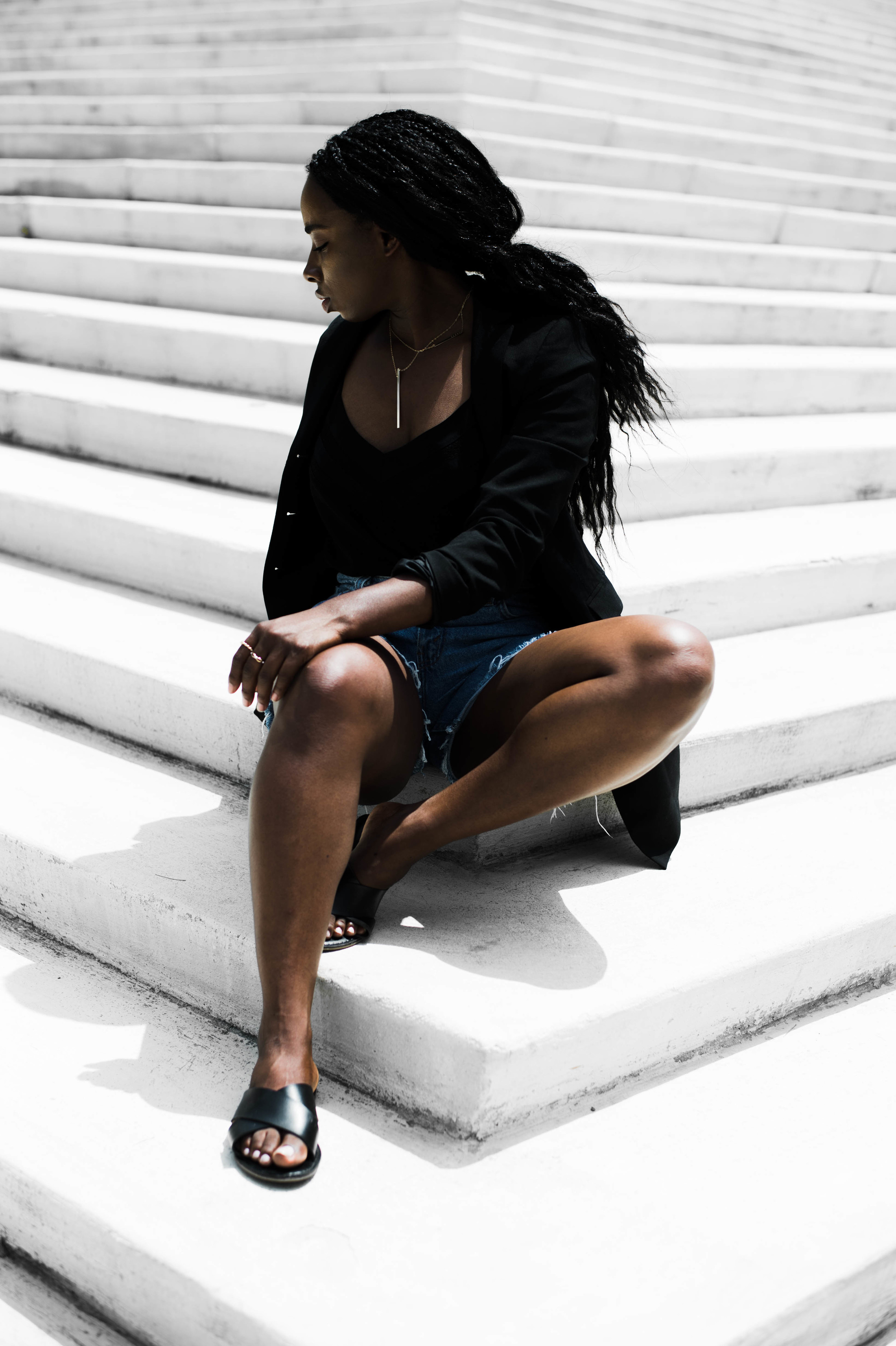 The-Glossier-Tasha-James-All-Black-Denim-Shorts-Fashion-Blogger-DC-Summer-2016-Blazer-Denim-6.jpg