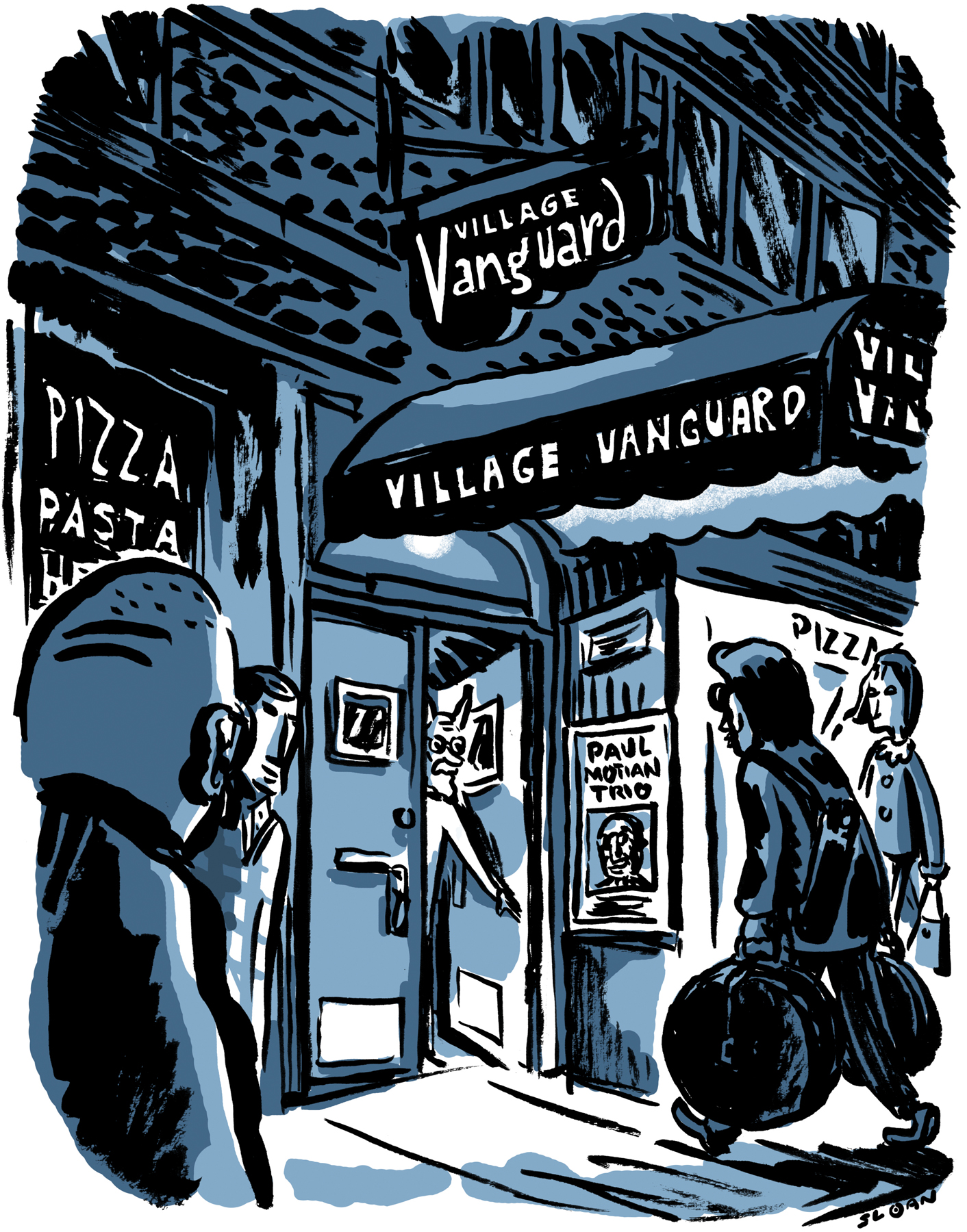 Paul Motian arriving at the Village Vanguard, NYC.