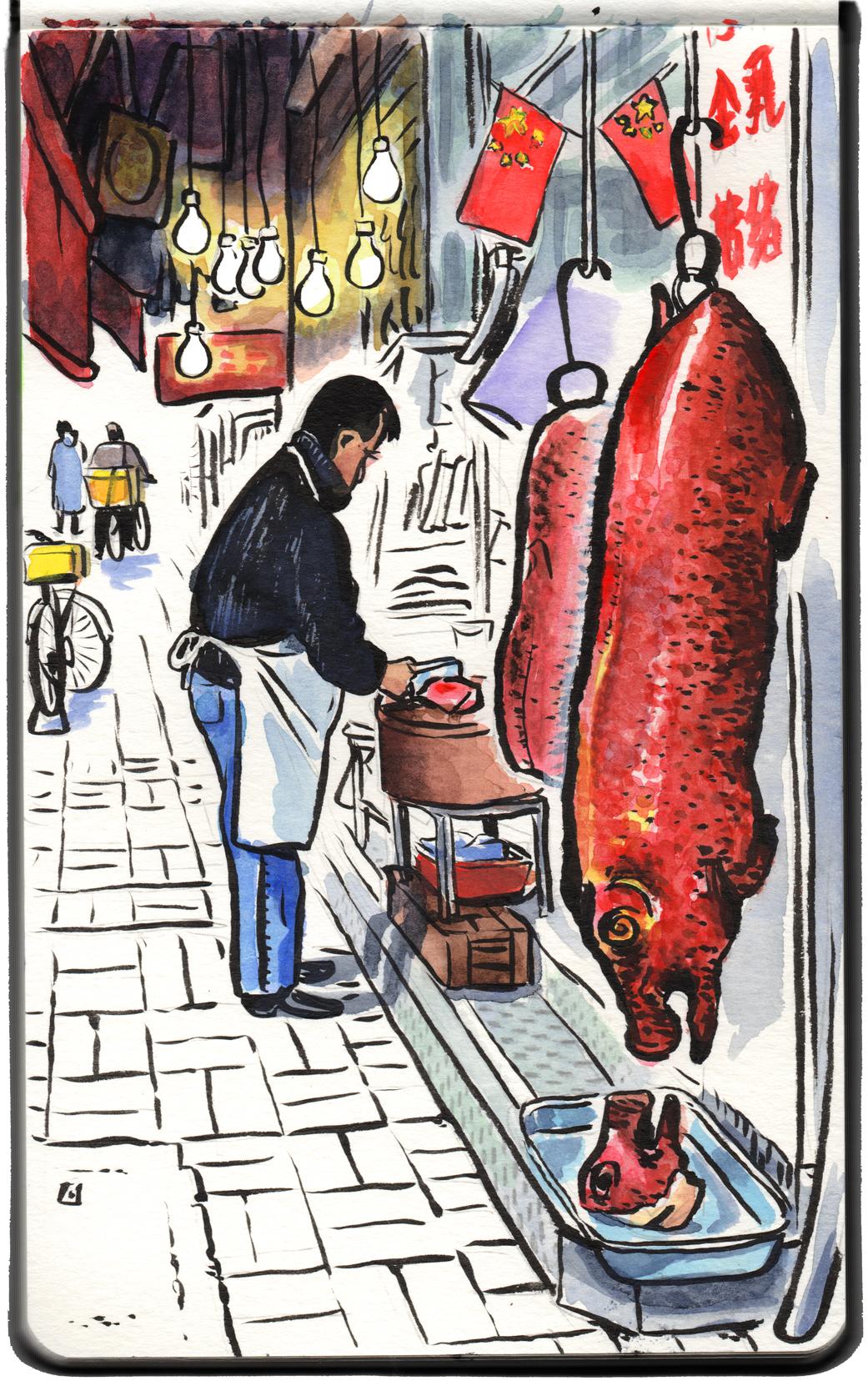 Butcher, Tai Po market.