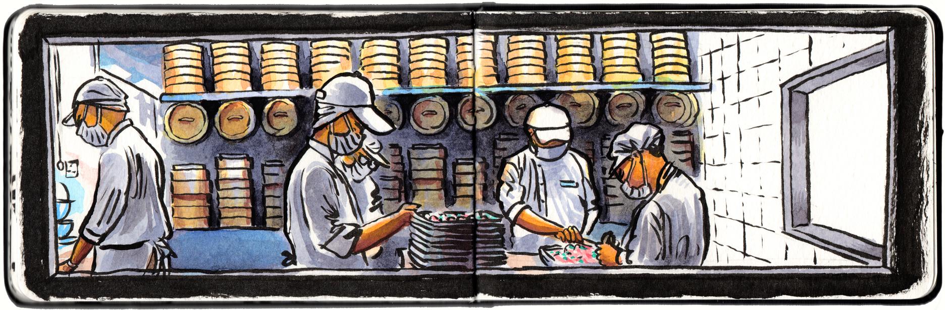 Dumpling makers at Crystal Jade, Shatin.