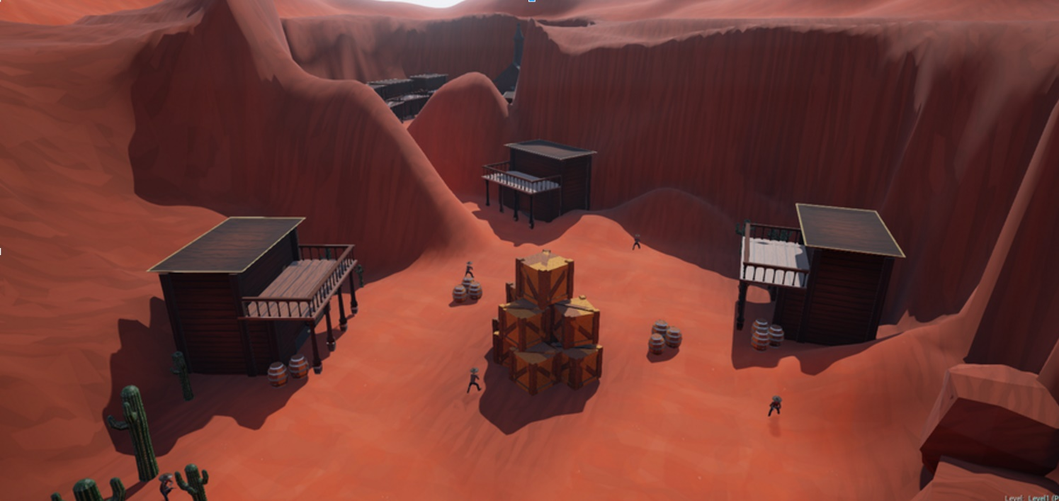 A view of the first level from up above! Enemies dot the town.