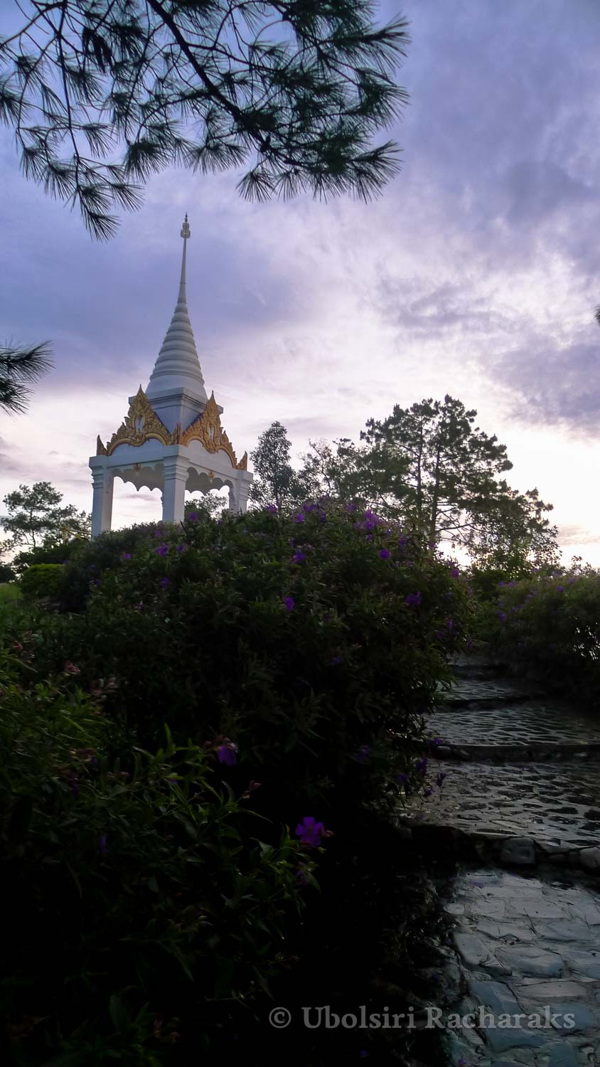 Stupa at the top of the stairs at sunrise