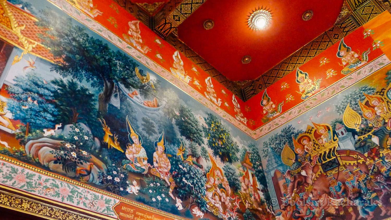 Detail of Murals Inside Hall at Wat Neramit Wipatsana
