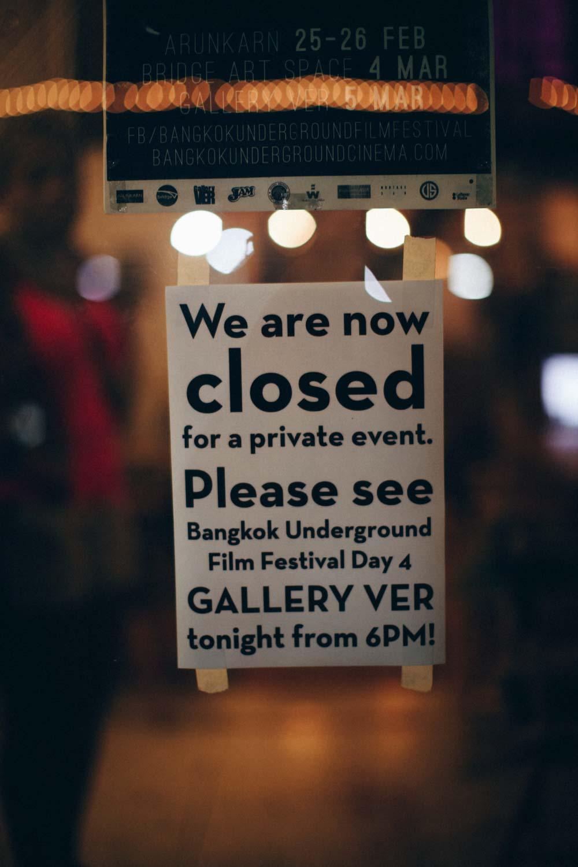Private Event Sign at Bridge Art Gallery, Bangkok, Thailand