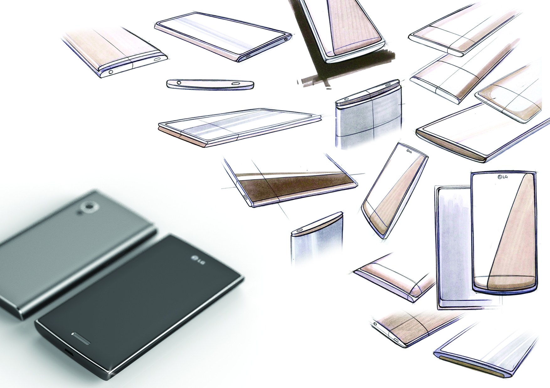 Sketches and Renders for the mid segment premium phones in the LG Lineup