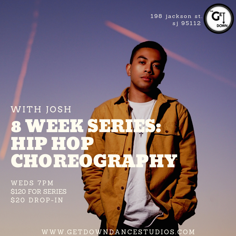 Hip Hop Choreography Series (Wednesdays)   Intermediate Wednesdays 7-8pm $120/series $20/drop-in (note, if dropping in, this class is a progressive series and will not slow down for one-time students)   Info: In this class, students will learn choreography while working on control, musicality, and projecting the feeling of a song. The main focus will be on how to control body movements and speed as well as identifying the different sounds within a song. Students will gain the ability to distinguish the different sounds in music and control their moves in order to execute choreography effectively.