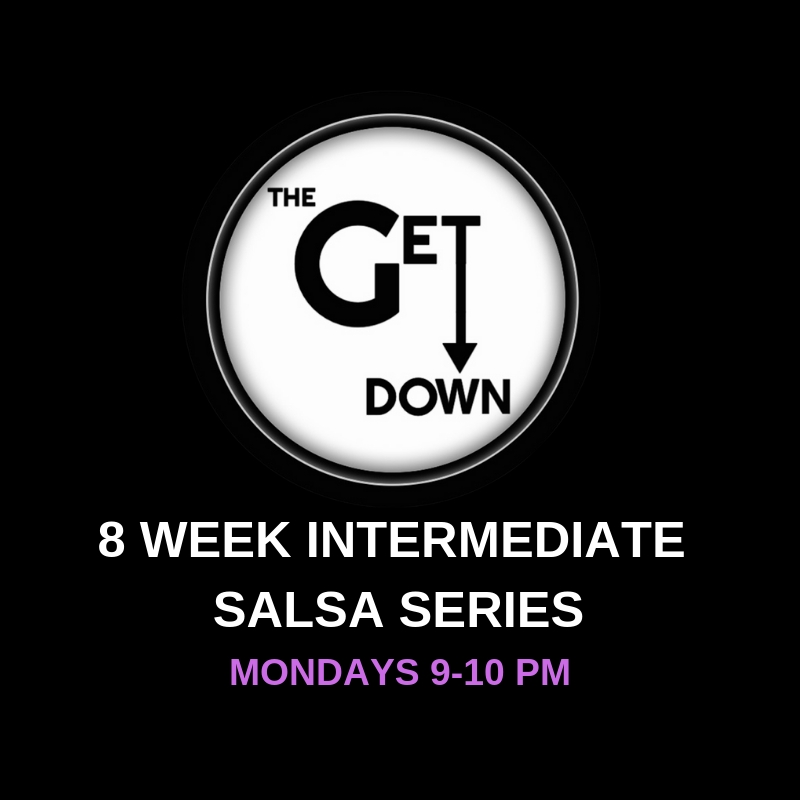 Intermediate Salsa Series (Mondays)   Mondays 9-10pm $120/series $20/drop-in (this class is a progressive series and will not slow down for one-time students)  Pre-registration is required as space is limited to 4 couples. (No partner required to register.)  Info:  Time to take your salsa dancing to the next level! Along with learning more complicated patterns, students will refine the basic moves with more advanced leading/following concepts. Emphasis will also be on timing, musicality, and how to put the 'sabor', or flavor, into dancing salsa!