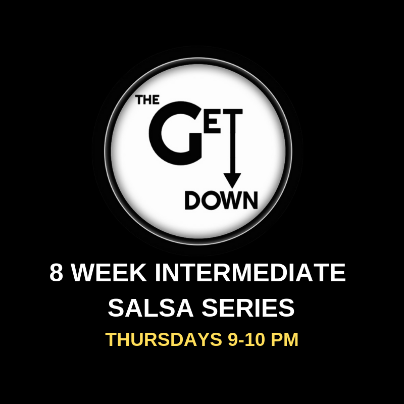 Intermediate Salsa Series (Thursdays)   Thursdays 9-10pm $120/series $20/drop-in (this class is a progressive series and will not slow down for one-time students)  Pre-registration is required as space is limited to 10 couples. (No partner required to register.)  Info:  Time to take your salsa dancing to the next level! Along with learning more complicated patterns, students will refine the basic moves with more advanced leading/following concepts. Emphasis will also be on timing, musicality, and how to put the 'sabor', or flavor, into dancing salsa!