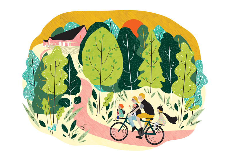 'Family in the Evergreen' - Private Commission