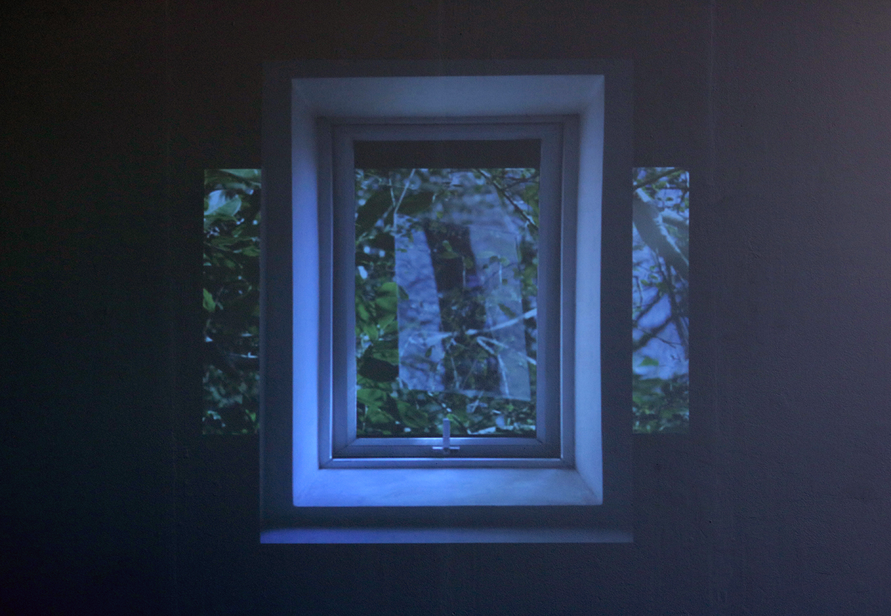 'fingers pluck played on by' film, edited with collaged window, collaboration with sound by harpist Rhodri Davies