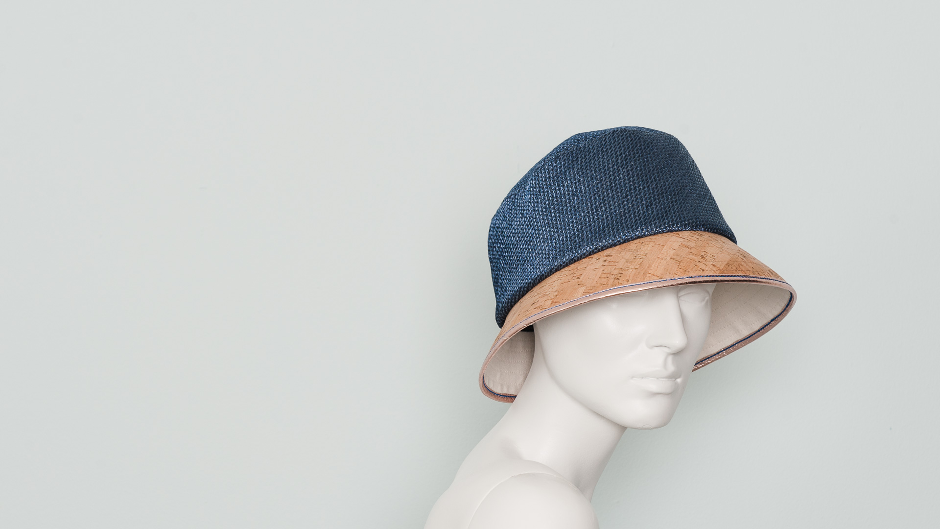 Raffia, cork and canvas bucket hat
