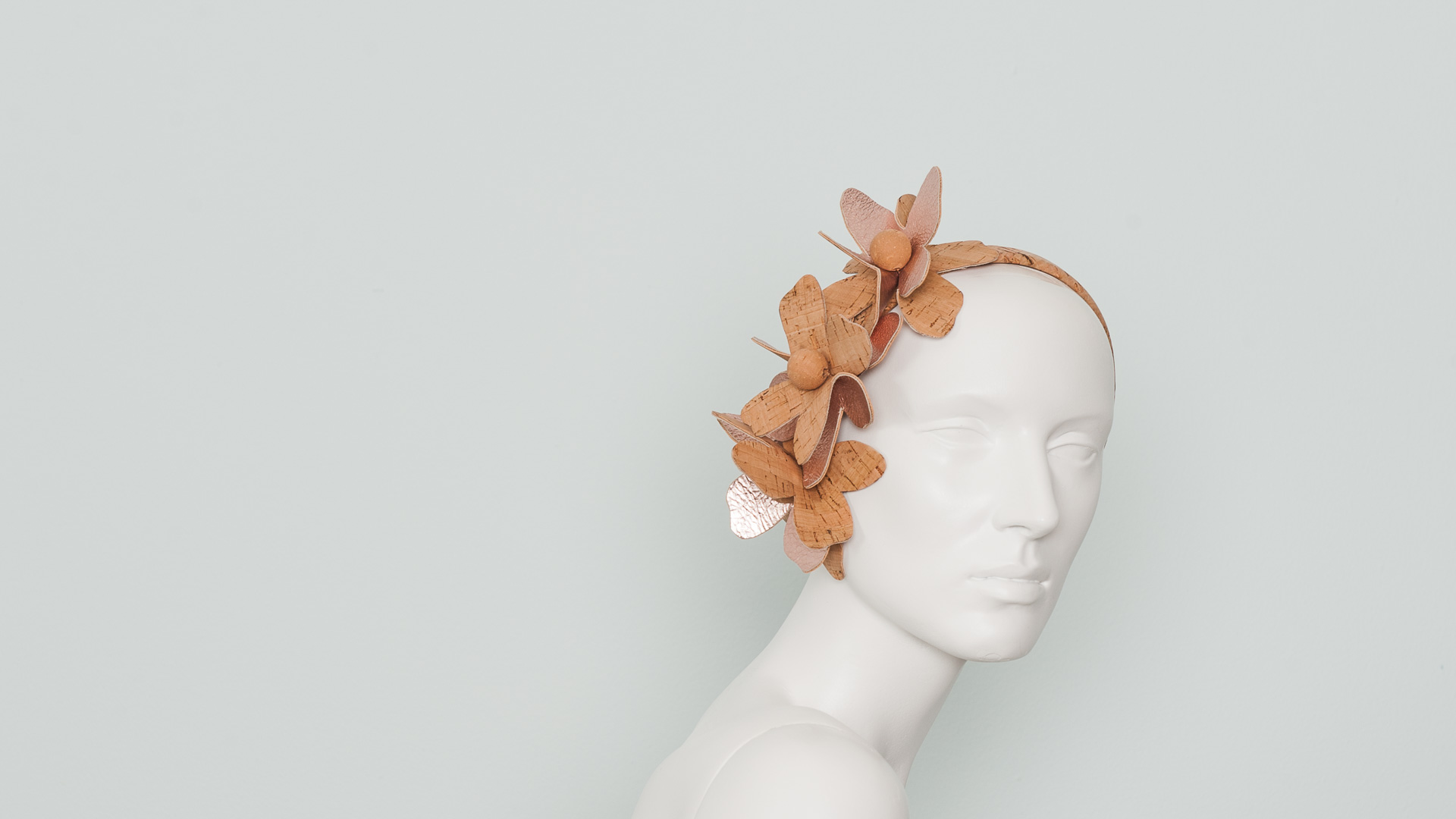 Leather & cork flower hair band