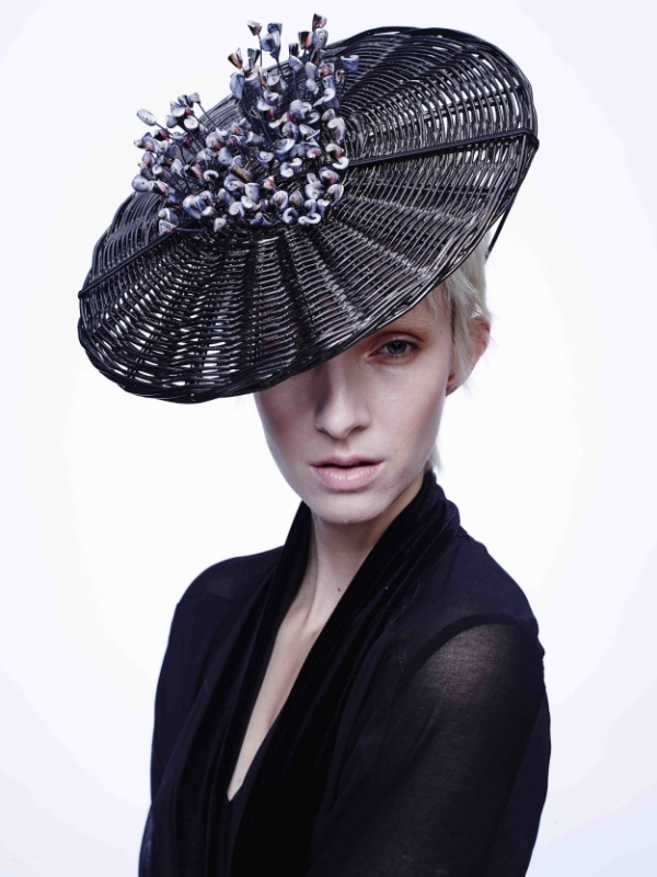 Chrome Plated Basket Picture hat with lacqered shells