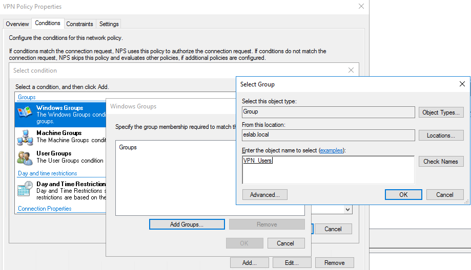 *If you do not have a security group created in AD for VPN users, you need to stop and create one before proceeding.