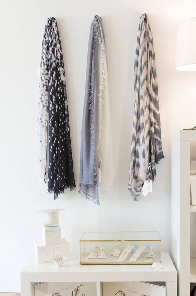 Fig & Bella make gorgeous hand dyed scarves out of Clinton Corners, NY. They work with both viscose and cashmere to create dipped or more texturized patterns and are a perfect accent piece for both winter and spring!