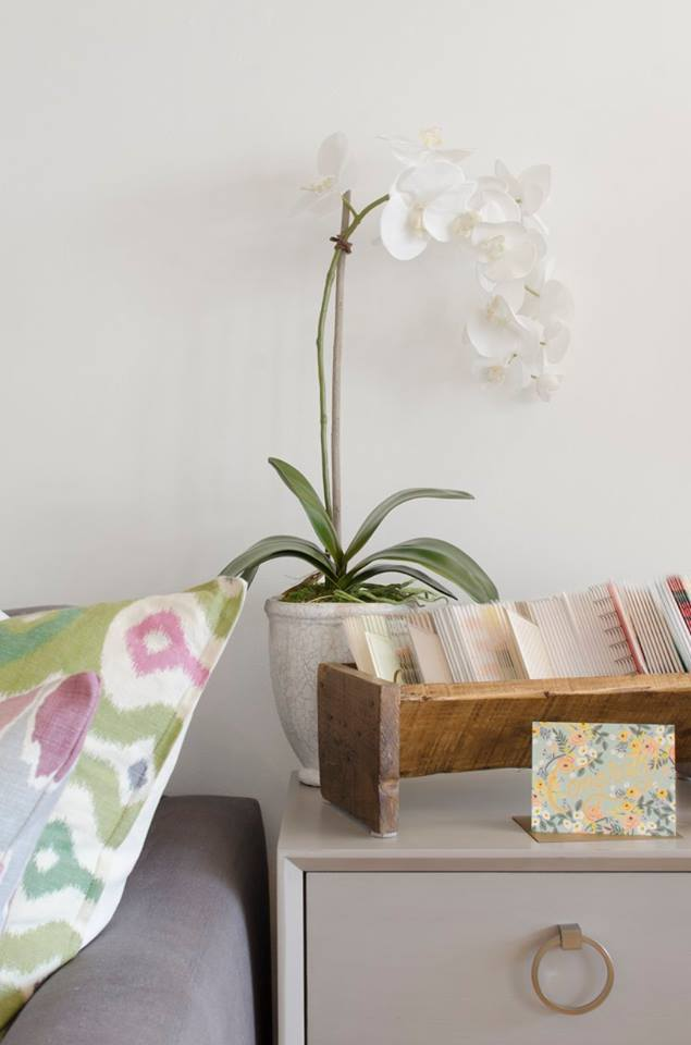 We love the little things. This faux orchid blending into our white walls and custom cabinet handles are perfect accents to decorate your space with