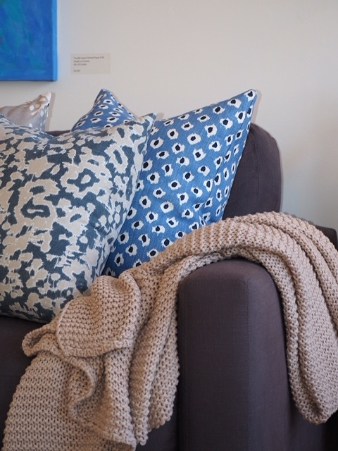 Our custom pillows are a perfect match for this champagne Matouk throw blanket.