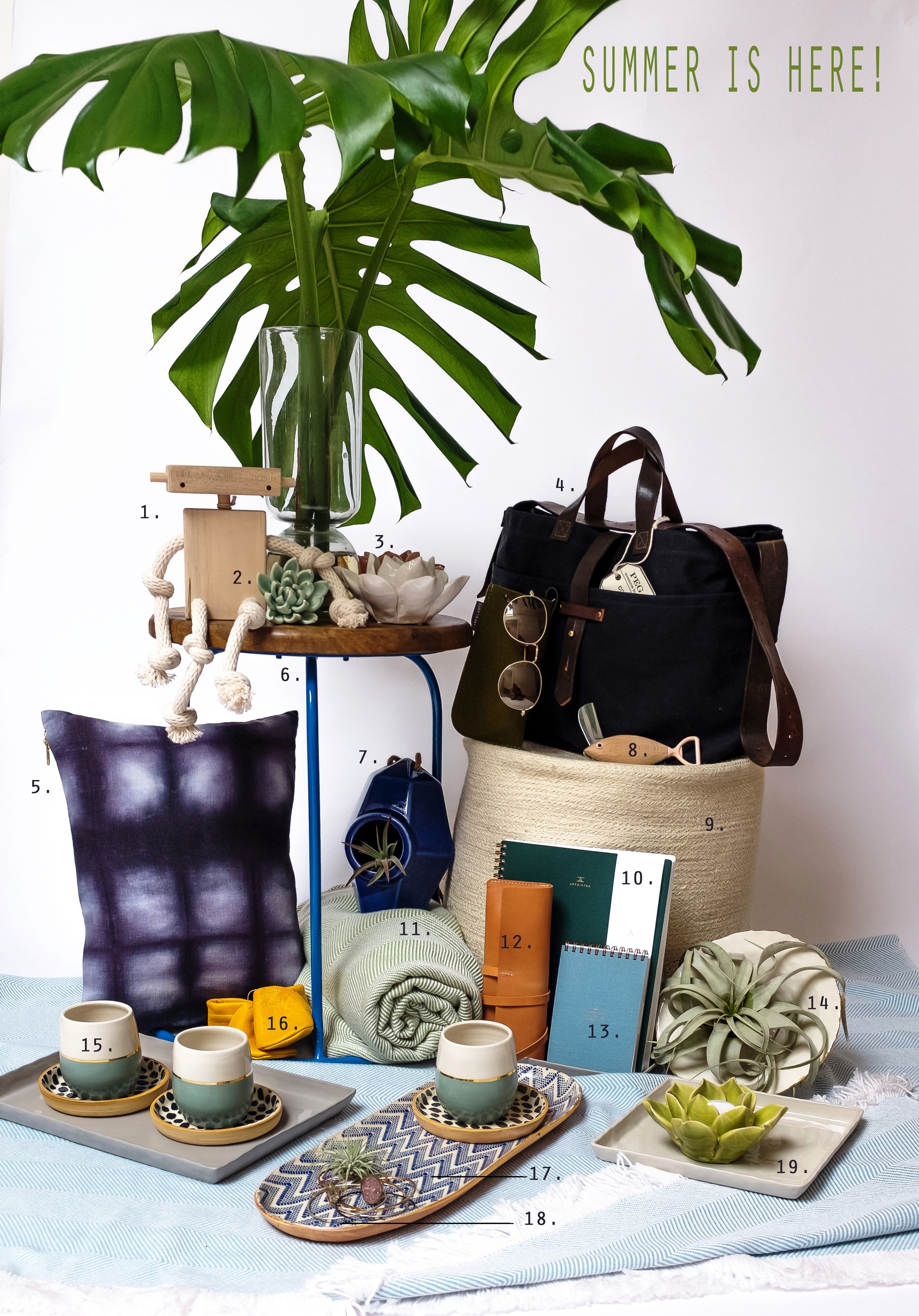 """1.  GARY THE ROBOT  $45.00  2. CERAMIC SUCCULENT $7.50  3. LOTUS TEA LIGHT HOLDER $13.00  4.  COAL WAXED CANVAS TOTE  $240.00  5.  NAVY SHIBORI PILLOW , 12X16"""" $159.00  6. GRAHAM IRON AND WOOD STOOL- AZURE $160.00  7. PERCH CERAMIC BIRD HOUSE $ 35.O0  8.  FISH KNIFE IN SEAWEED  $25.00  9.  LARGE JUTE ROUND STORAGE BASKET , BLEACH WHITE $78.00  10. HUNTER GREEN LINED NOTEBOOK $22.00  11.  GINGKO/NATURAL SUNBRELLA THROW  $299.00  12. LEATHER PENCIL CASE $68.00  13. NOTEPAD IN CHAMBRAY BLUE $15.00  14.  MEDIUM PINCHED BOWL WITH GOLD RIM  $136.00  15.  GREEN CUP WITH GOLD STRIPE  $45.00  16.  GOLDEN LEATHER BOOTIES  $45.00  17.  LARGE CANAPE IN CHEVRON COBALT  $115.00  18.  HERKIMER & DRUSY CUFF  $136.00  19. FLEET CERAMIC TRAY, WHITE SQUARE $36.00"""