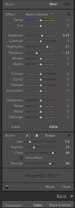 adjust your sliders to desired results… here i want a basic contour to recover detail in the hair.