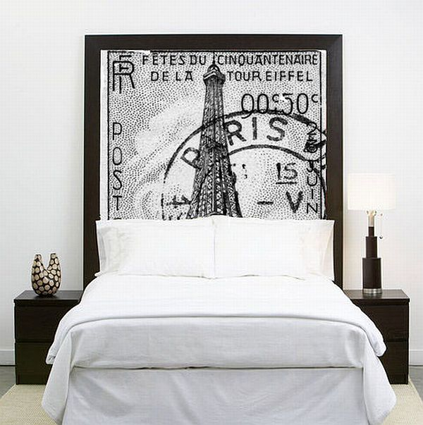 "Poster headboard ""framed"" in black tape. Homedit.com"