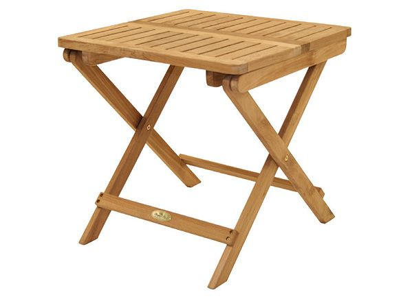 This  small teak table  folds to store or move.