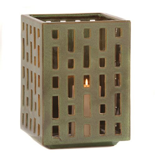 Ceramic garden lantern via  Hayneedle . More texture than a simple hurricane lantern.
