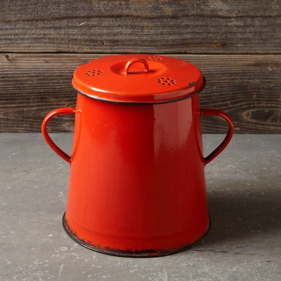 Neither pink nor green, but there's nothing wrong with  red in the kitchen . Found on  williams-sonoma.com
