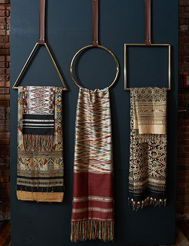 An interesting way to display a textile collection. I have a few pieces of indigo and other fabrics that will work well!