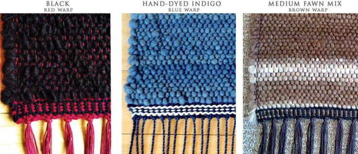 Stephanie Morton hand weaves alpaca yarns into small flatweave rugs for your bedside or other cozy nooks.  via  stephaniemortonhandweaver.com