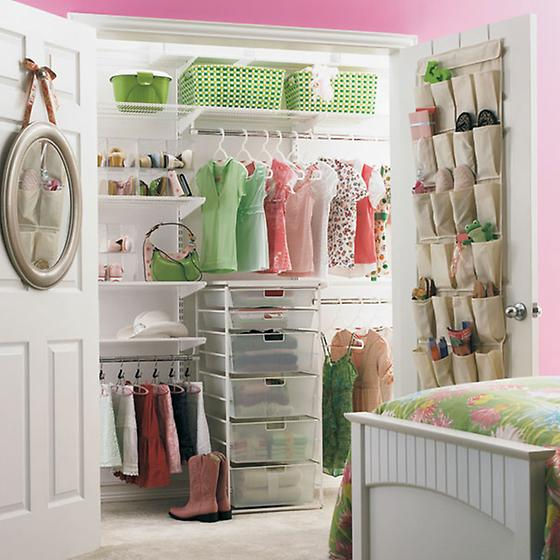 A kid's closet with room to change and grow, via  thecontainerstore.com