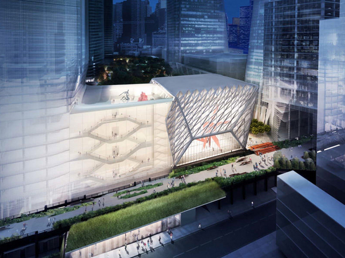 A rendering of the Shed, a six story space for art performance and installations via  CurbedNY .