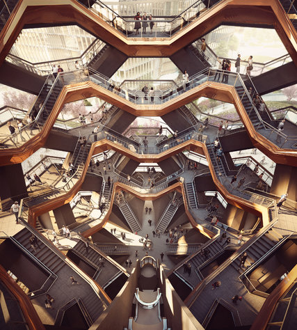 """Rendering for the interior of """"The Vessel"""", a proposed centerpiece structure for the public plaza, via  Fortune ."""
